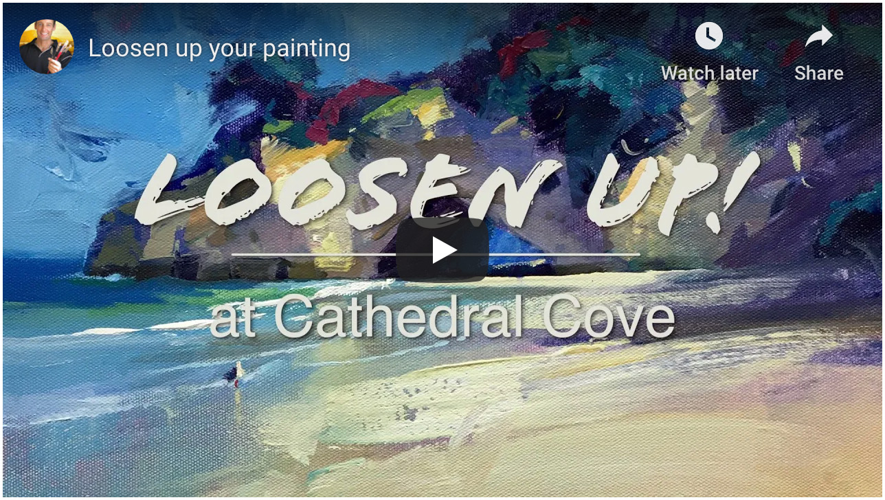 How I felt livestreaming Cathedral Cove painting