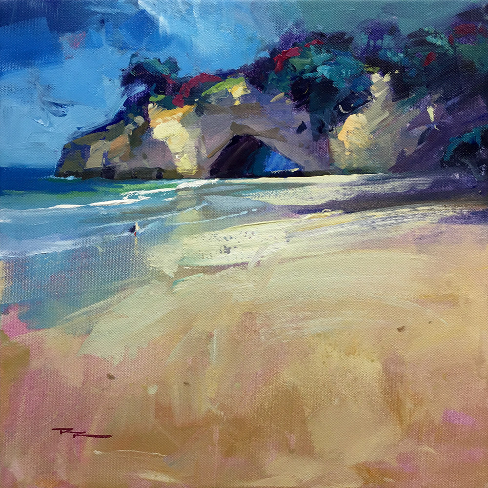 Cathedral Cove, Acrylic on Canvas 15x15""