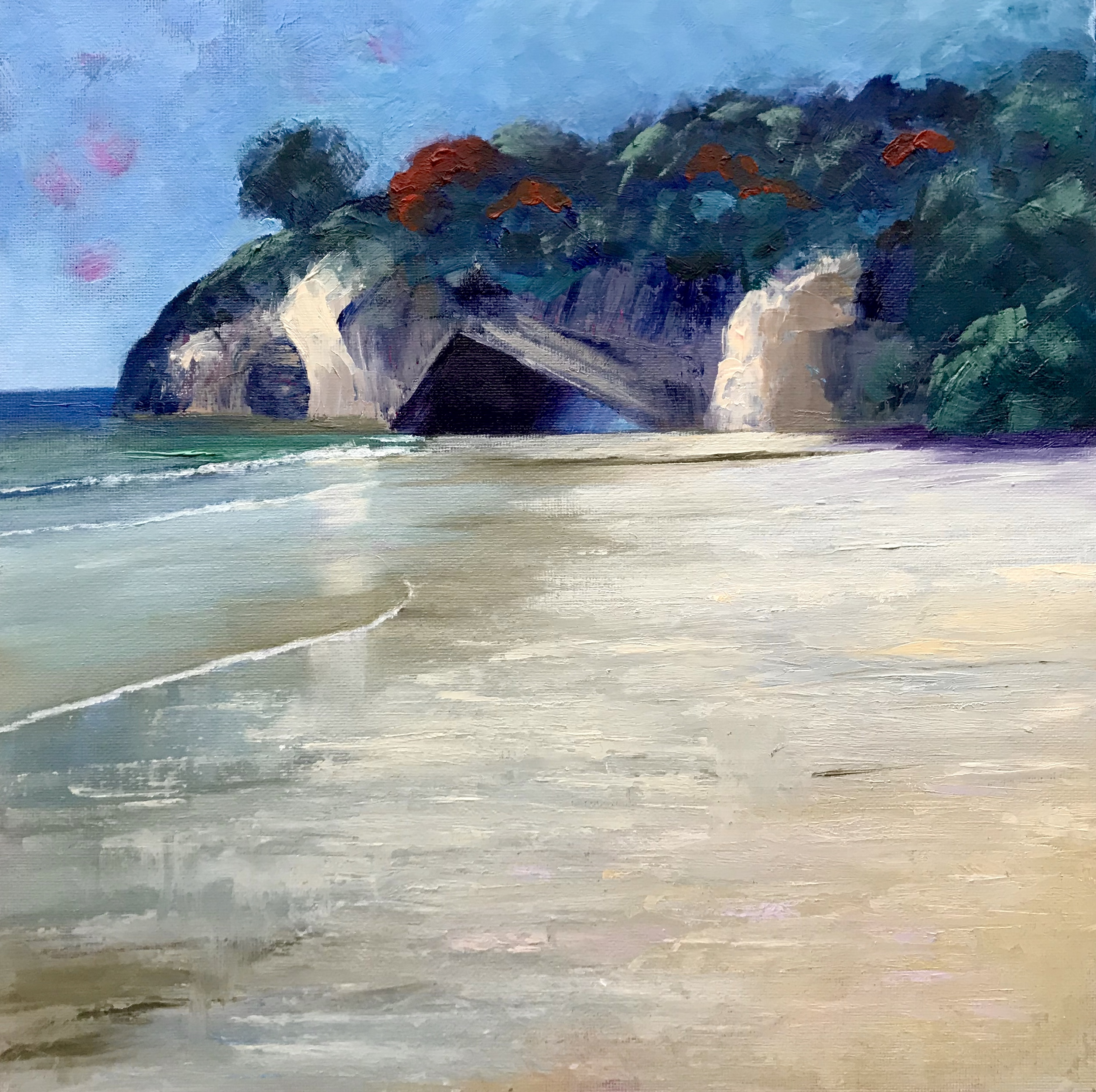 "Cathedral Cove. Oil on canvas board, 12"" x 12"""